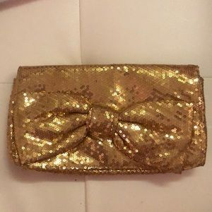 Betsey Johnson gold sparkly bow clutch club wallet
